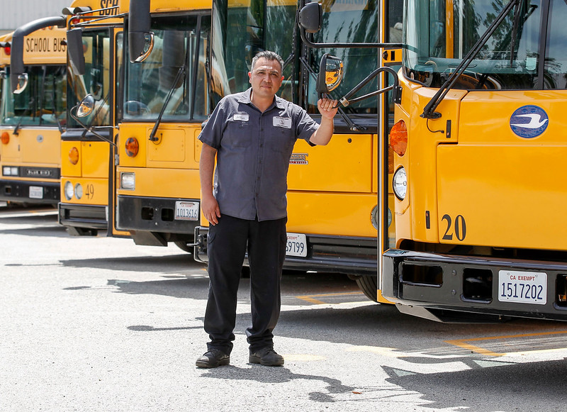 Vehicle maintenance technician, Andrei Rayas, named 2017 Classified School Employee of the Year in the Transportation category, is pictured at North Monterey County Unified School District's maintenance and transportation yard on Tuesday, April 25, 2017 in , Calif. (Vernon McKnight/Herald Correspondent)