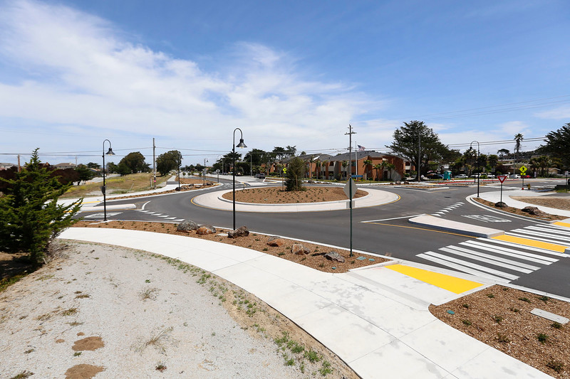 A newly completed roundabout at Del Monte Blvd. and Beach Road is pictured on Tuesday, April 25, 2017 in Marina, Calif. (Vernon McKnight/Herald Correspondent)