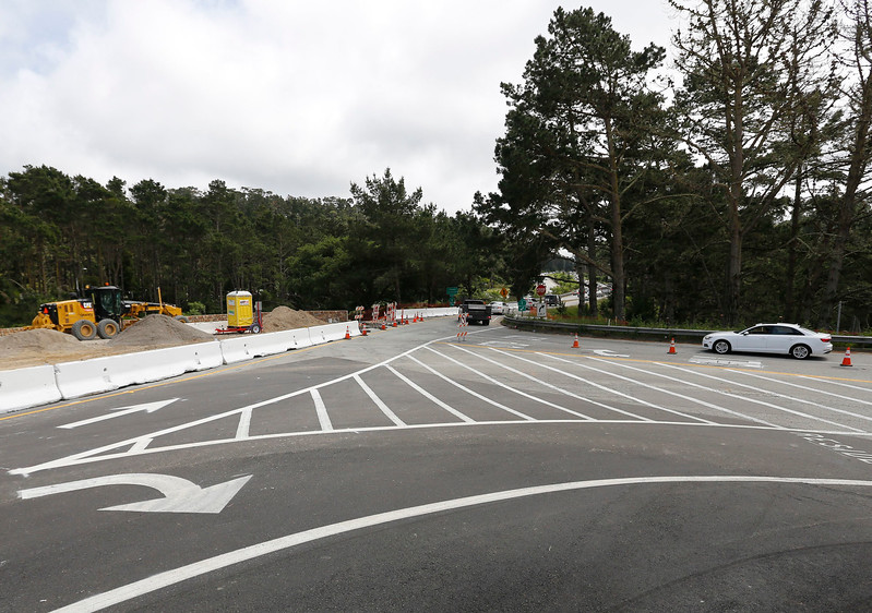 Cars leaving Pebble Beach have to travel South bound before heading North due to the Hwy 68 roundabout construction on Tuesday, April 25, 2017 in Monterey, Calif. Access from Pebble Beach to Northbound 1 has been closed. (Vernon McKnight/Herald Correspondent)