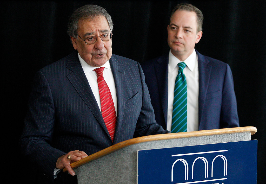 . Leon Panetta with White House Chief of Staff (2017) Reince Priebus address the media at the Panetta Lecture Series in Monterey on Monday, April 30, 2018.  (Vern Fisher - Monterey Herald)