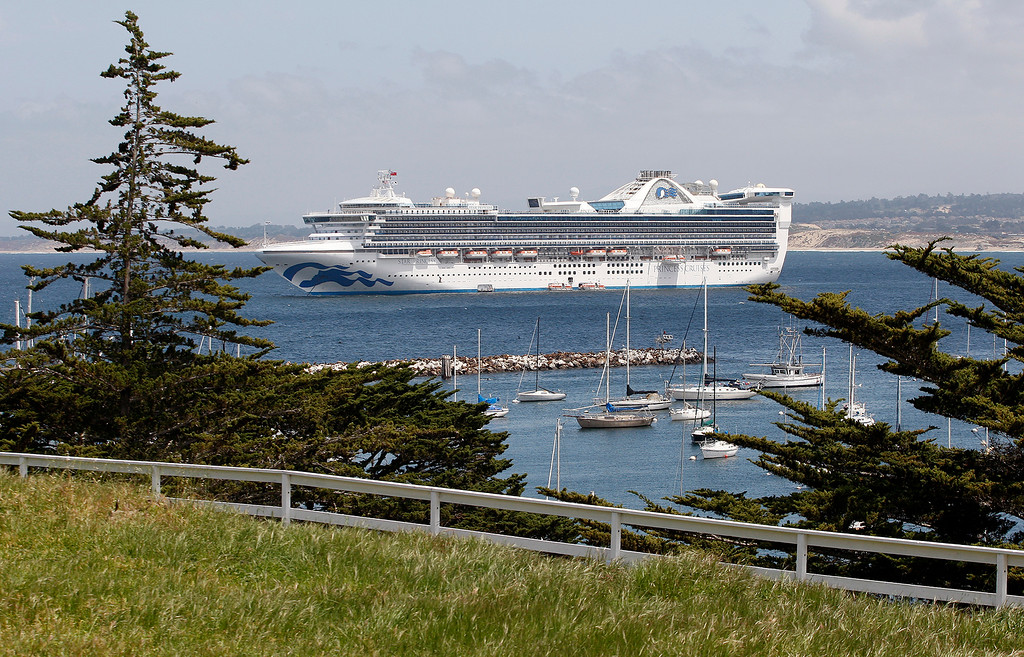 . The Princess Cruises Star Princess cruise ship at anchor off Monterey on Monday, April 30, 2018.  (Vern Fisher - Monterey Herald)