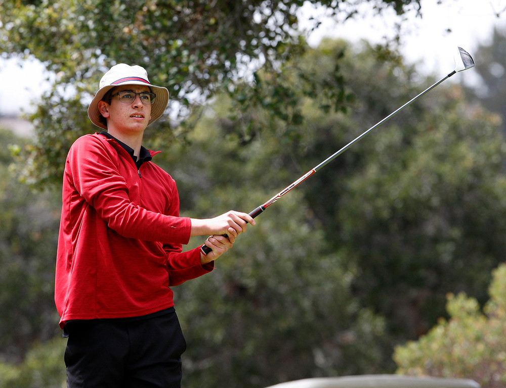 . Pacific Grove High School\'s Josh Cryns during the Mission Trail Athletic League Golf Championships at Laguna Seca Golf Ranch in Monterey on Tuesday, May 1, 2018.  (Vern Fisher - Monterey Herald)