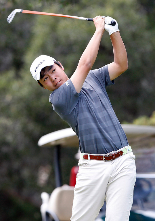 . Stevenson School\'s Robert You during the Mission Trail Athletic League Golf Championships at Laguna Seca Golf Ranch in Monterey on Tuesday, May 1, 2018.  (Vern Fisher - Monterey Herald)