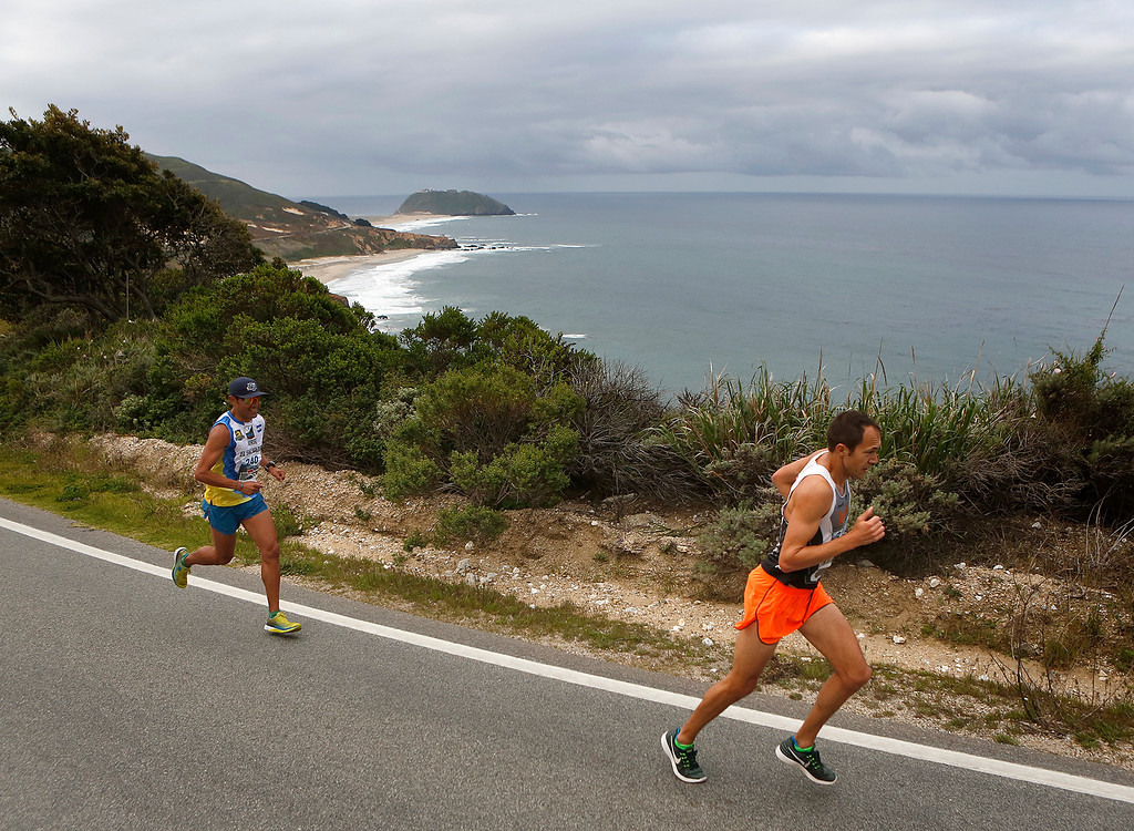 . Adam Roach of Pebble Beach leads Jorge Maravilla of Mill Valley up Hurricane Point during the Big Sur Marathon in Big Sur, Calif. on Sunday April 29, 2018. Roach won the race, Maravilla took second. (David Royal/ Herald Correspondent)