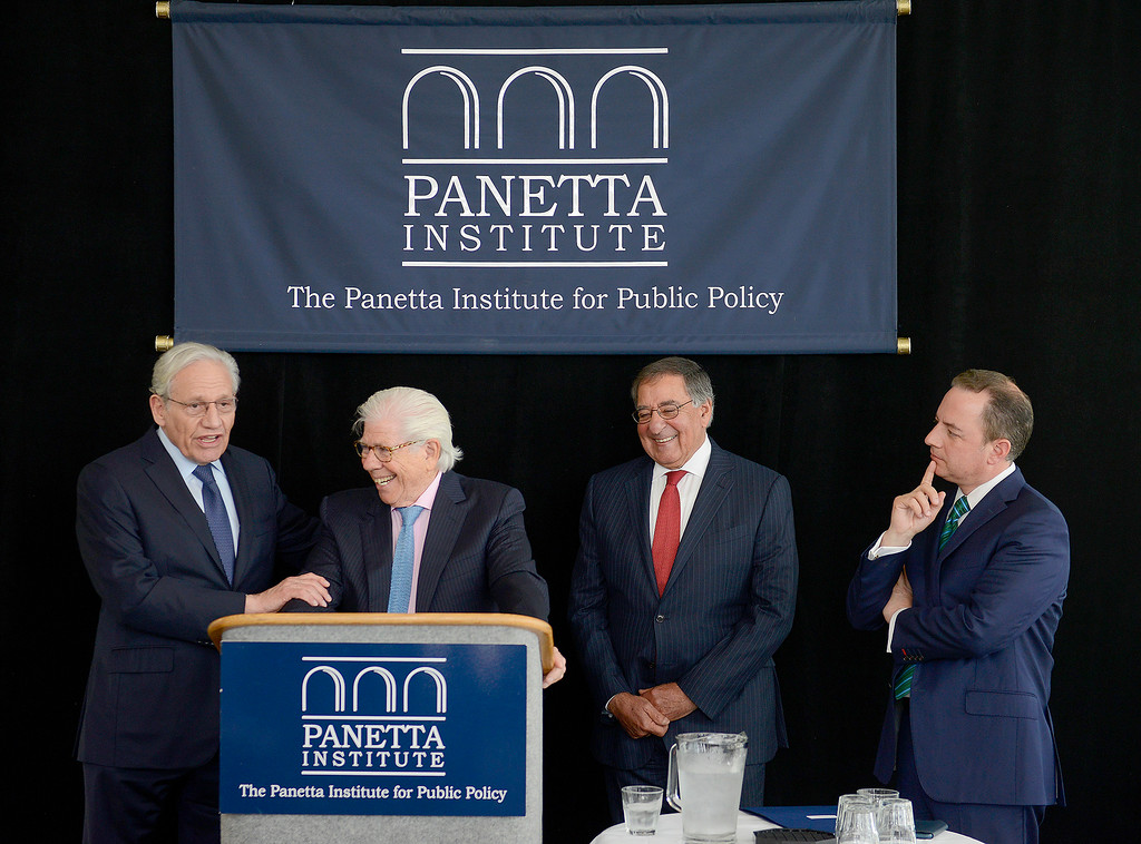 . Pulitzer Prize-winning journalists Bob Woodward and Carl Bernstein with Leon Panetta and White House Chief of Staff (2017) Reince Priebus at the Panetta Lecture Series in Monterey on Monday, April 30, 2018.  (Vern Fisher - Monterey Herald)