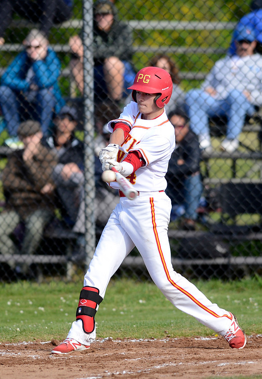 . Pacific Grove\'s Dylan Graham connects with a pitch during baseball against Monte Vista Christian in Pacific Grove on Wednesday April 12, 2017. (David Royal - Monterey Herald)