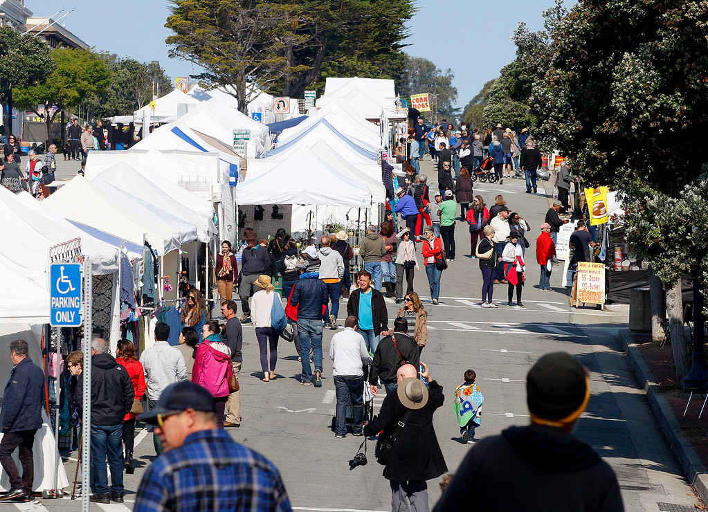 . Large crowds on Sunday, April 9, 2017 at the 60th Pacific Grove Good Old Days festival.  (Vern Fisher - Monterey Herald)