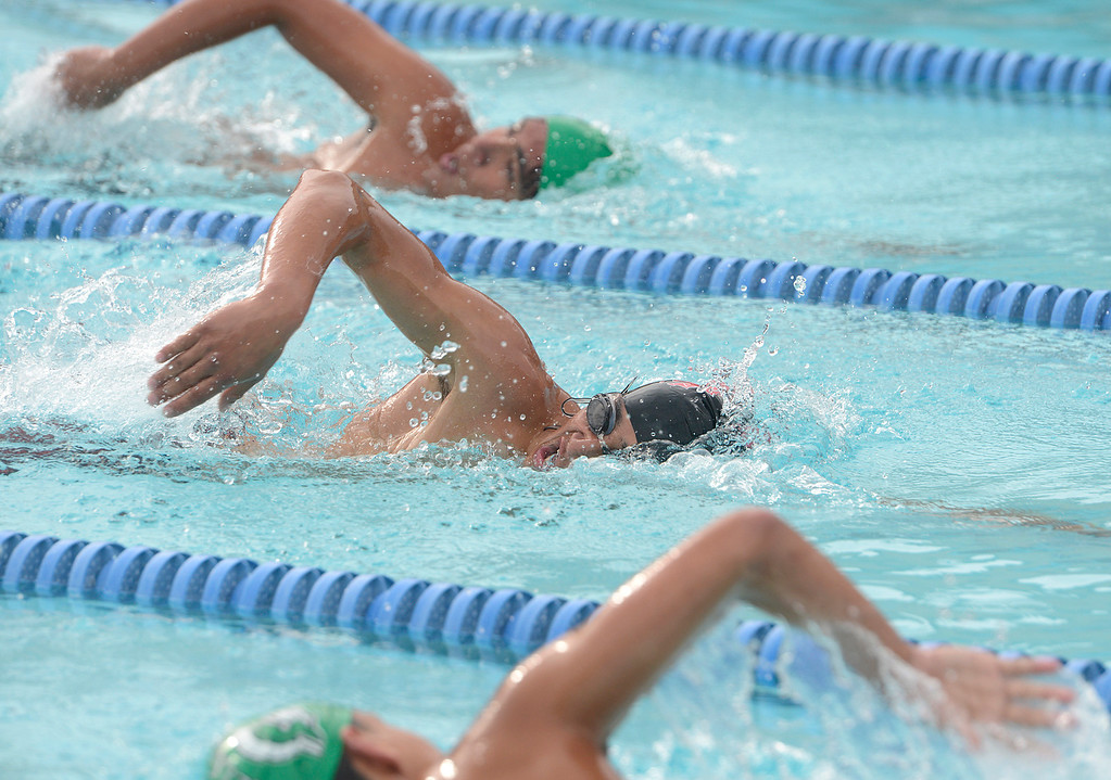. Seaside\'s Eandi Sosa swims to a win against in the boys 500 meter race during their swim meet against Alisal in Seaside on on Friday April 7, 2017.  Sosa\'s finished the race 6:18.5. (David Royal - Monterey Herald)