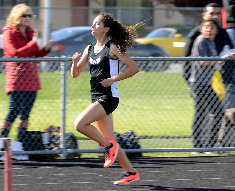 . North Monterey County\'s Sarah Delgado runs on her way to a win in the girls 400 meter race during their track meet against Notre Dame at Palma High School in Salinas on Thursday April 13, 2017. (David Royal - Monterey Herald)