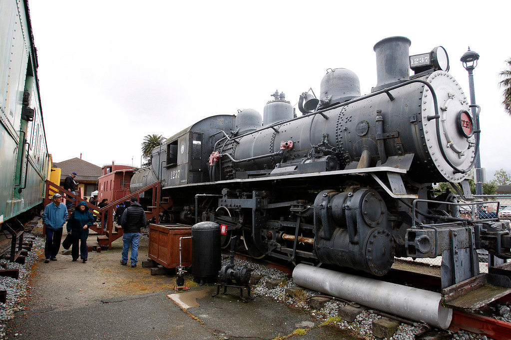 . People view the trains at the Salinas Founders Day program on Saturday, April 8, 2017 at the Train Station Plaza in Salinas  It�s free and open to the public.  (Vern Fisher - Monterey Herald)