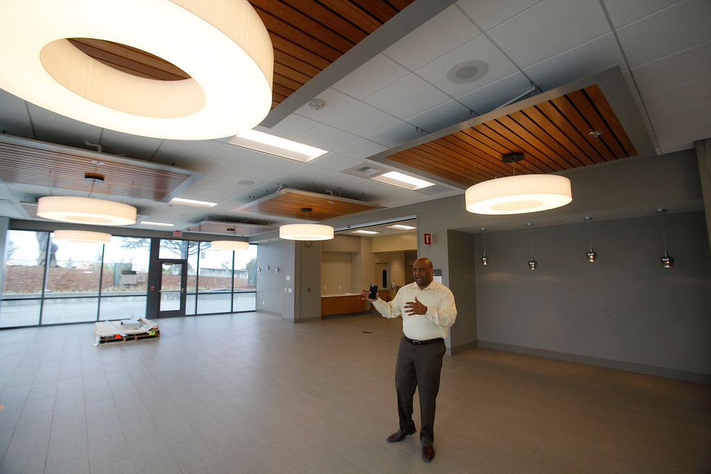 . Damian McGee public affairs officer at the new VA/DoD Outpatient Clinic in Marina on Thursday, April 13, 2017.  (Vern Fisher - Monterey Herald)