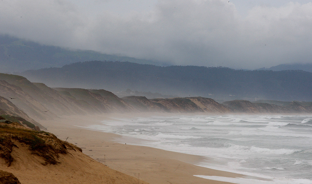 . Wind and rain made for an empty Marina State Beach on Friday, April 7, 2017.  (Vern Fisher - Monterey Herald)