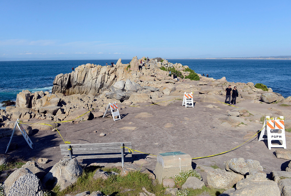 . Caution tape surrounds a Native American archaeological site that has been exposed due to winter storms at Lovers Point in Pacific Grove on Monday April 10, 2017. (David Royal - Monterey Herald)