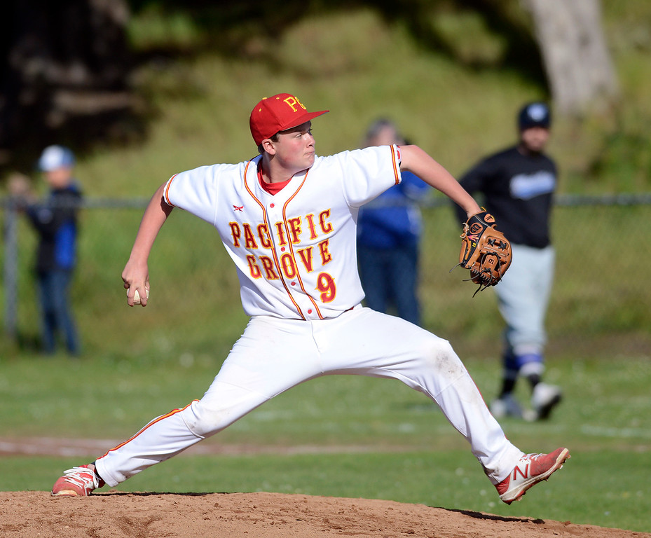 . Pacific Grove\'s Jack Sendel pitches against Monte Vista Christian during baseball in Pacific Grove on Wednesday April 12, 2017. (David Royal - Monterey Herald)