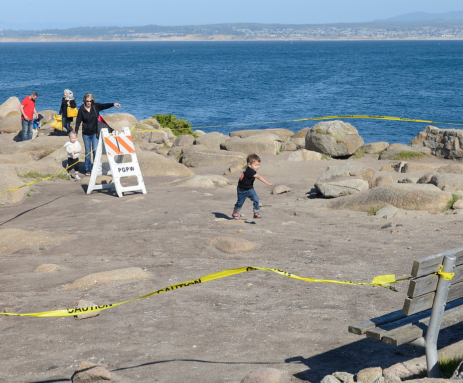 . A young boy runs through an area fenced off by caution tape that contains a Native American archaeological site at Lovers Point in Pacific Grove on Monday April 10, 2017. The area has been exposed due to winter storms. (David Royal - Monterey Herald)