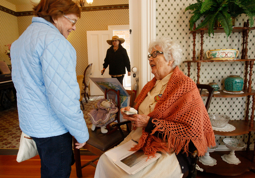 . Ruth Muldoon chats with people at the Salinas Founders Day program on Saturday, April 8, 2017 at the Train Station Plaza in Salinas  It�s free and open to the public.  (Vern Fisher - Monterey Herald)