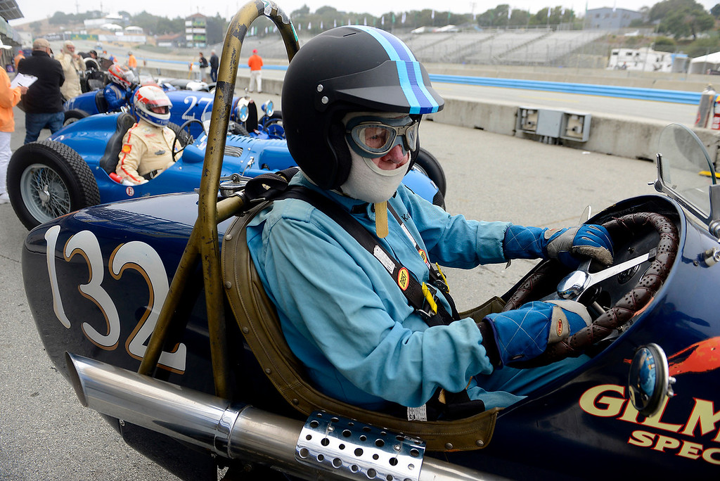 . John Kerr prepares to drive his 1931 Miller Special V at the Rolex Motorsports Reunion at WeatherTech Raceway Laguna Seca on Friday, August 24, 2018.  (Vern Fisher - Monterey Herald)