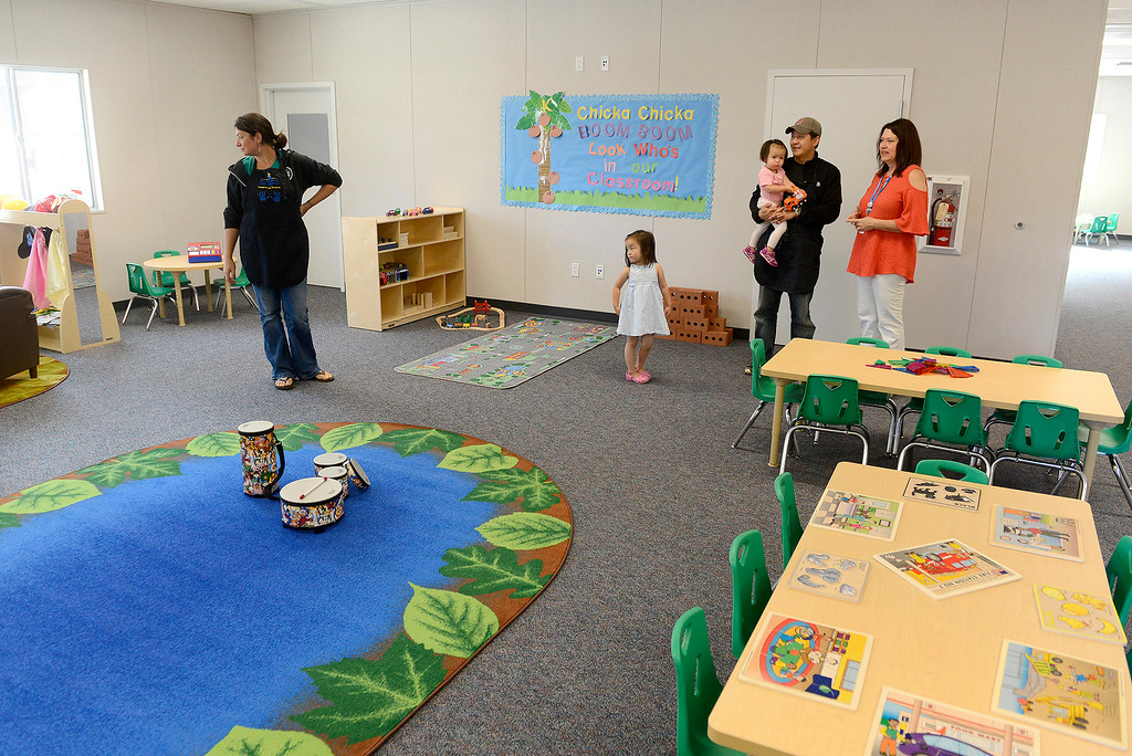 . Parents, students and staff check out the new Pacific Grove Adult Education Child Development Center in Pacific Grove on Wednesday, August 29, 2018.  (Vern Fisher - Monterey Herald)