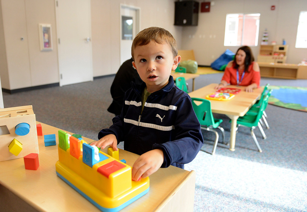 . Milo Acosta, 4, plays in the new Pacific Grove Adult Education Child Development Center in Pacific Grove on Wednesday, August 29, 2018.  (Vern Fisher - Monterey Herald)