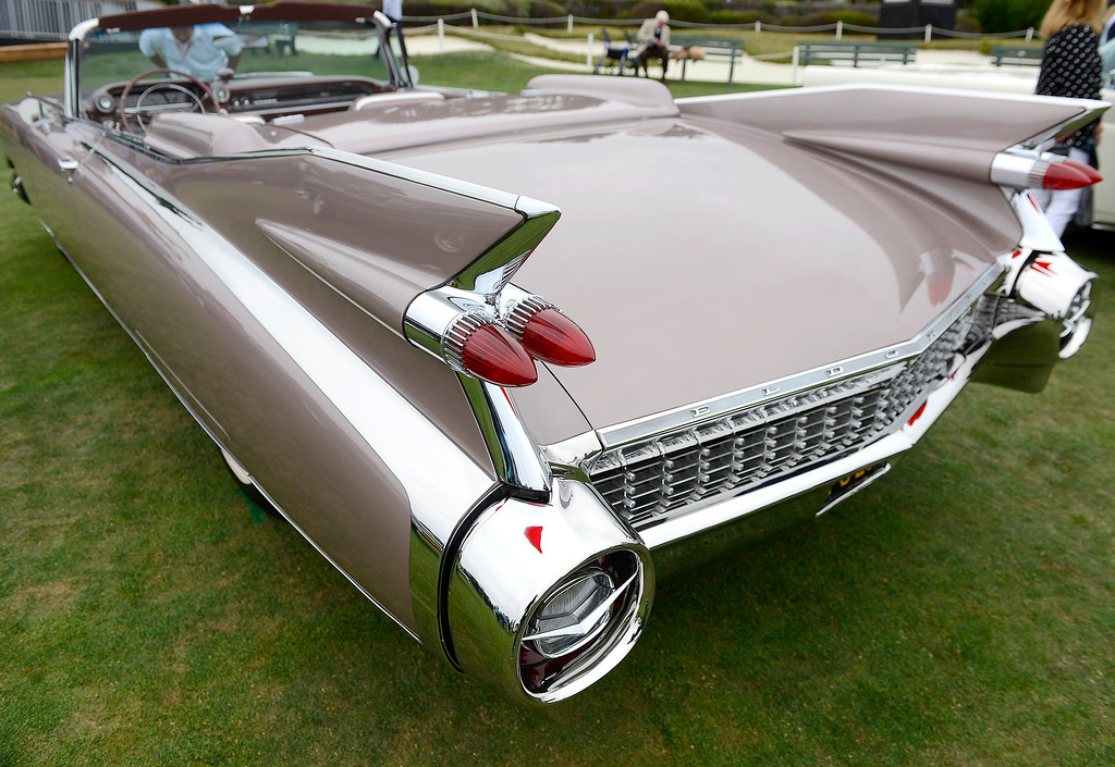 . The big rear fins on a 1959 Cadillac Eldorado Biarritz Convertible at the Pebble Beach Concours d\'Elegance on Sunday, August 26, 2018.  (Vern Fisher - Monterey Herald)