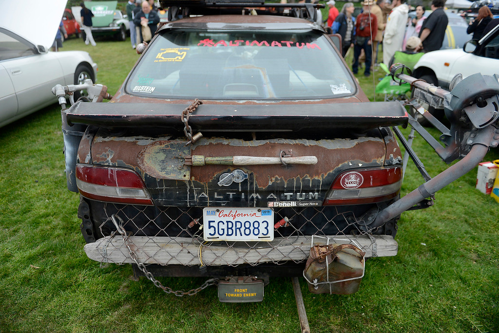 . Benjamin Brandt from Sand City shows his 1995 Altima Road Warrior at the Concours d\'LeMons in Seaside on Saturday, August 25, 2018.  (Vern Fisher - Monterey Herald)