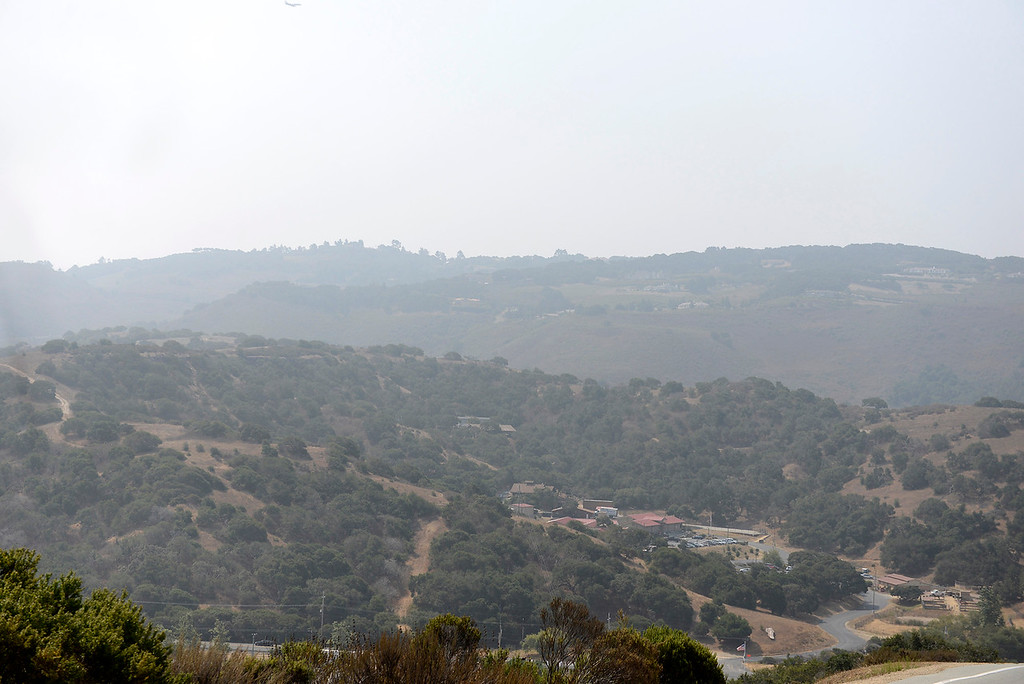 . Drift smoke from fires buring in northern California has settled in over Monterey County on Friday, August 24, 2018 making for poor visibilty and bad air quality.   (Vern Fisher - Monterey Herald)