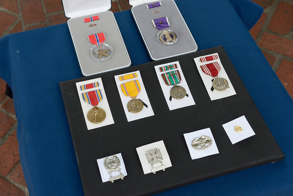 . The military medals awarded posthumously to U.S. Army Tech Sergeant David Schultz in a ceremony by Congressman Jimmy Panetta to the Schultz family in Monterey on Tuesday, August 28, 2018.  (Vern Fisher - Monterey Herald)