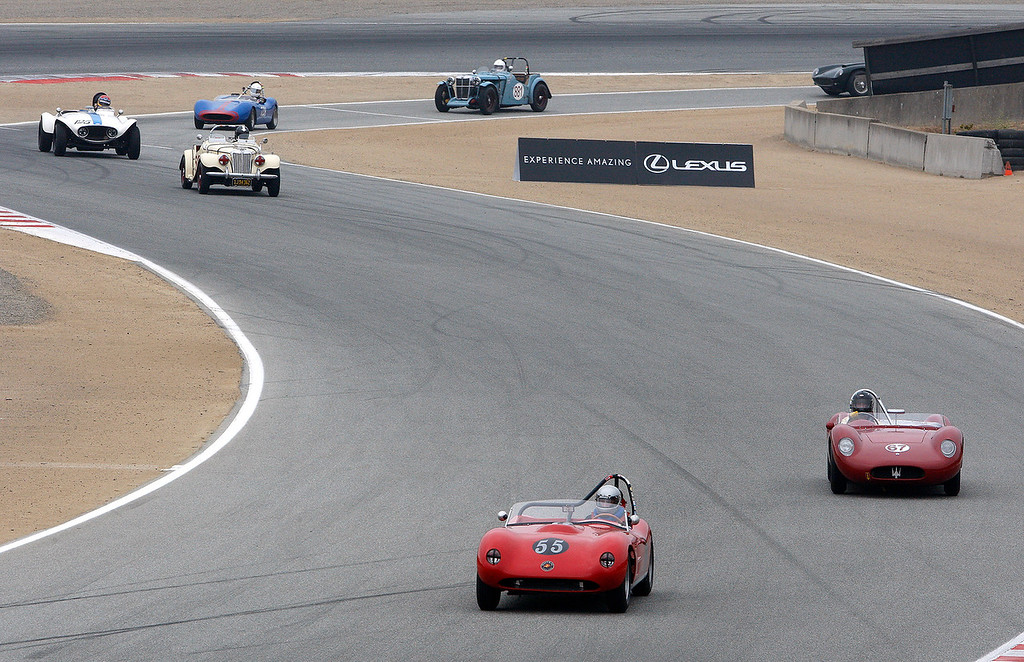 . Cars in the 1947-55 sportrs racing and GT cars on track during their practice session during the Rolex Motorosports Reunion at WeatherTech Raceway Laguna Seca on Friday, August 24, 2018.  (Vern Fisher - Monterey Herald)