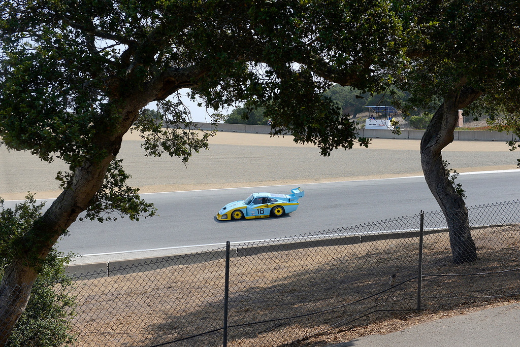 . Zak Brown drives his 1981 Porsche 935 through turn-9 during the practice session at the Rolex Motorsports Reunion at WeatherTech Raceway Laguna Seca on Friday, August 24, 2018.  (Vern Fisher - Monterey Herald)