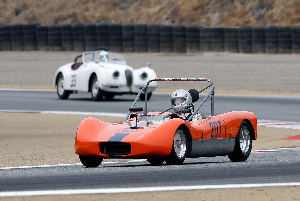 . Jeff Awender drives his 1965 Miller Special V through turn-3 during the practice session of 1947-1955 sports racing and GT cars at the Rolex Motorsports Reunion at WeatherTech Raceway Laguna Seca on Friday, August 24, 2018.  (Vern Fisher - Monterey Herald)