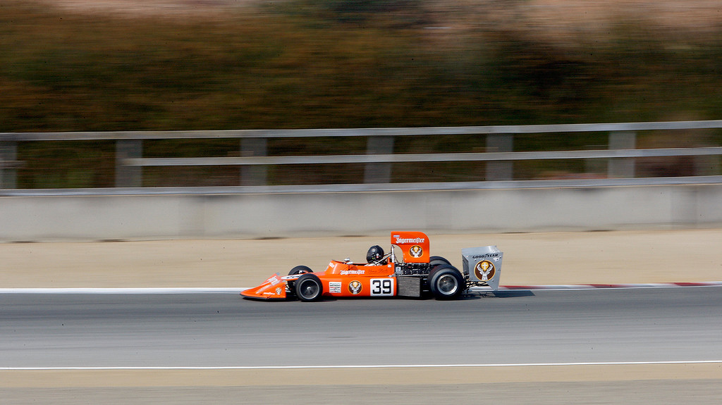 . Martin Lauber drives his 1974 March 741 through turn-4 during the practice session of 1967-1984 Formula One cars at the Rolex Motorsports Reunion at WeatherTech Raceway Laguna Seca on Friday, August 24, 2018.  (Vern Fisher - Monterey Herald)