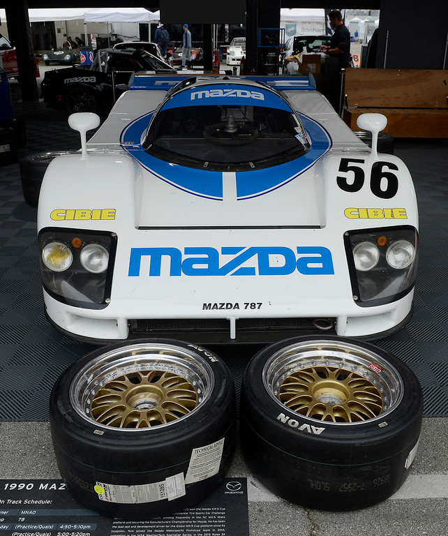 . 1990 Mazda 787 in the pits at the Rolex Motorsports Reunion at WeatherTech Raceway Laguna Seca on Friday, August 24, 2018.  (Vern Fisher - Monterey Herald)