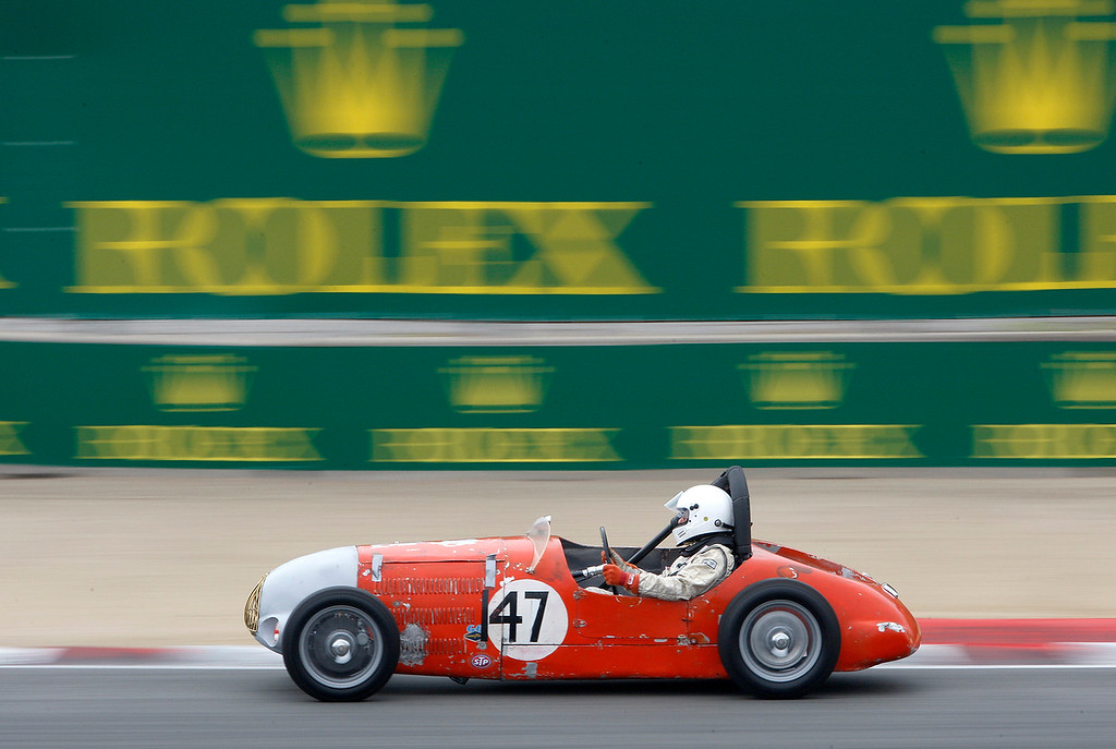 . Jon LaCarner drives his 1951 Allard K2 through turn-3 during the practice session of 1947-1955 sports racing and GT cars at the Rolex Motorsports Reunion at WeatherTech Raceway Laguna Seca on Friday, August 24, 2018.  (Vern Fisher - Monterey Herald)