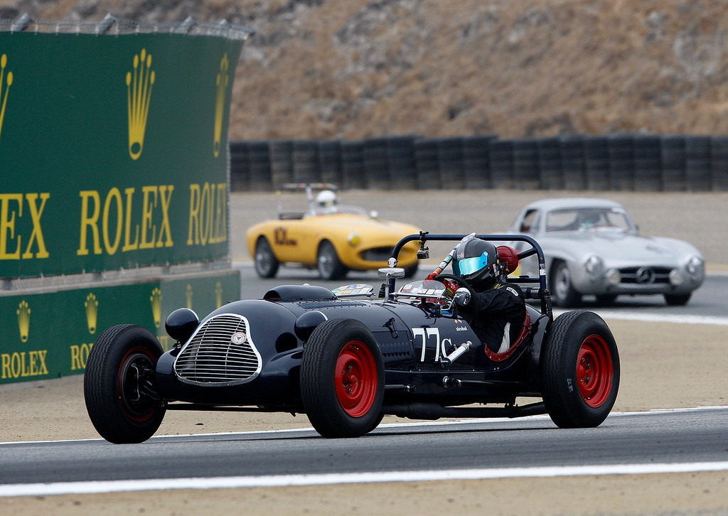 . Lars Mapstead drives his 1949 Baldwin Mercury Speical through turn-3 during the practice session of 1947-1955 sports racing and GT cars at the Rolex Motorsports Reunion at WeatherTech Raceway Laguna Seca on Friday, August 24, 2018.  (Vern Fisher - Monterey Herald)