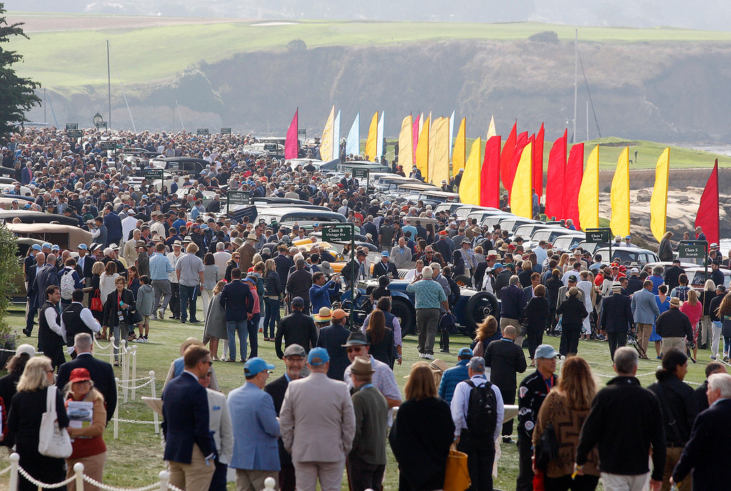 . Large crowd at the Pebble Beach Concours d\'Elegance on Sunday, August 26, 2018.  (Vern Fisher - Monterey Herald)