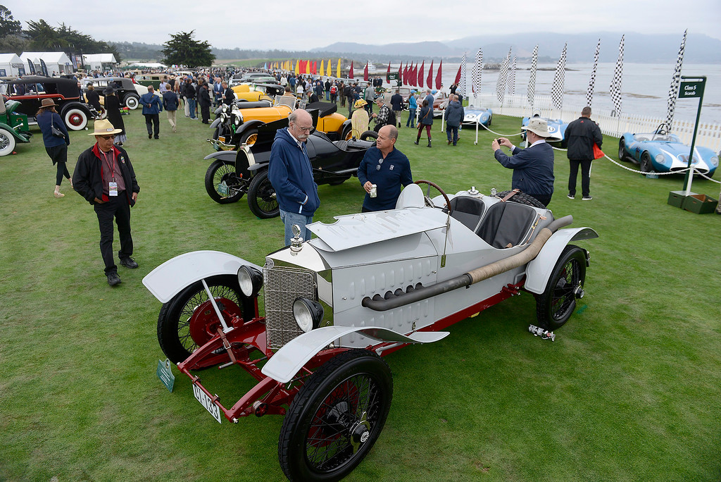 . Braam Ruben shows his 1923 Steyr Type VI Targa Florio Rennwagen at the Pebble Beach Concours d\'Elegance on Sunday, August 26, 2018.  (Vern Fisher - Monterey Herald)
