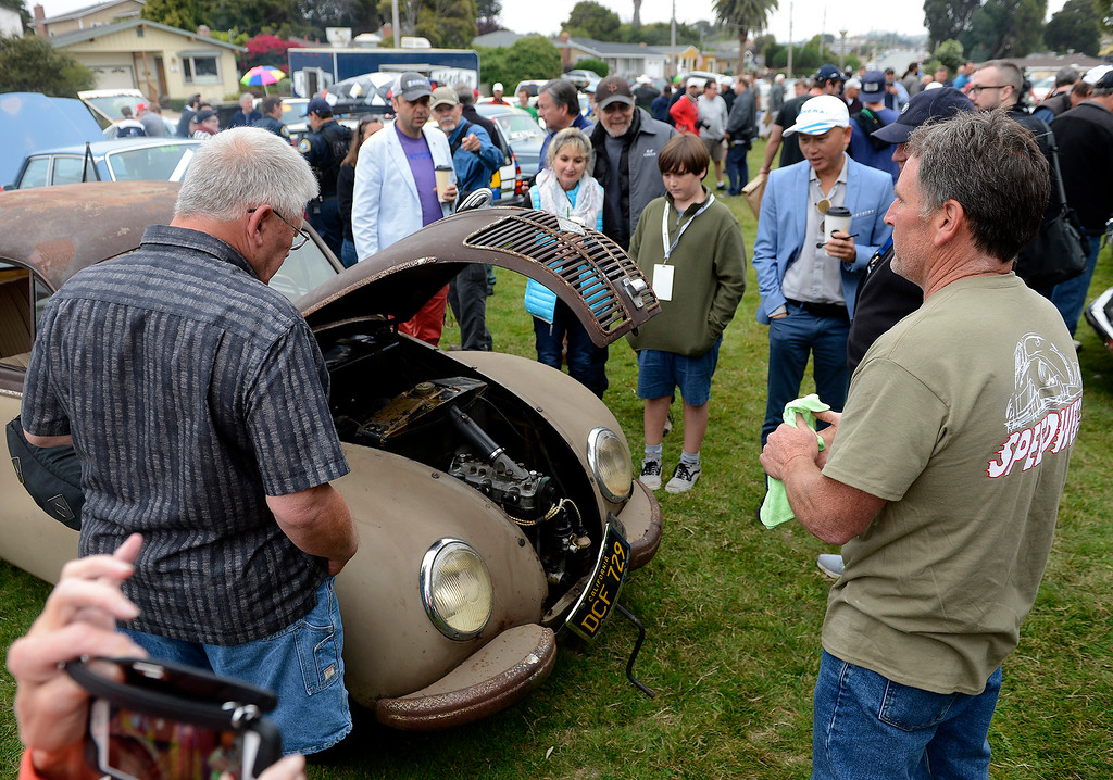 . Carl Schubert shows his 1953 IFA F9 at the Concours d\'LeMons in Seaside on Saturday, August 25, 2018.  (Vern Fisher - Monterey Herald)