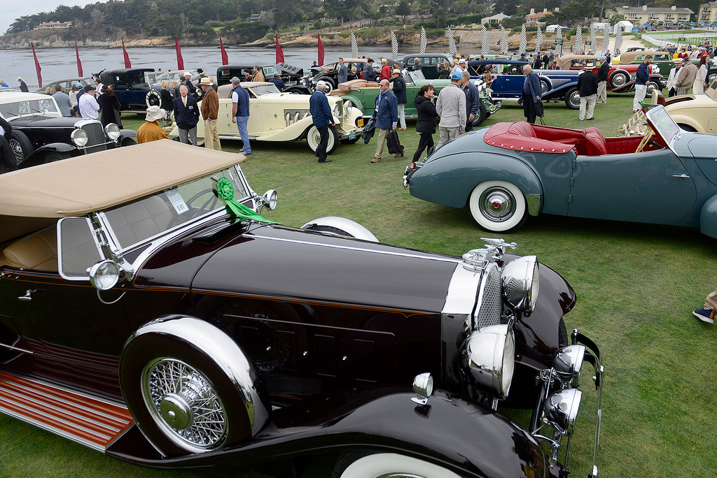 . Classic cars on display at the Pebble Beach Concours d\'Elegance on Sunday, August 26, 2018.  (Vern Fisher - Monterey Herald)
