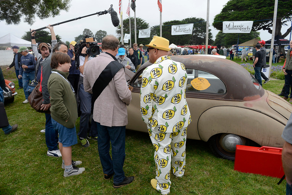 . Jay Lamm from San Francisco dresses in a lemon suit at the Concours d\'LeMons in Seaside on Saturday, August 25, 2018.  (Vern Fisher - Monterey Herald)