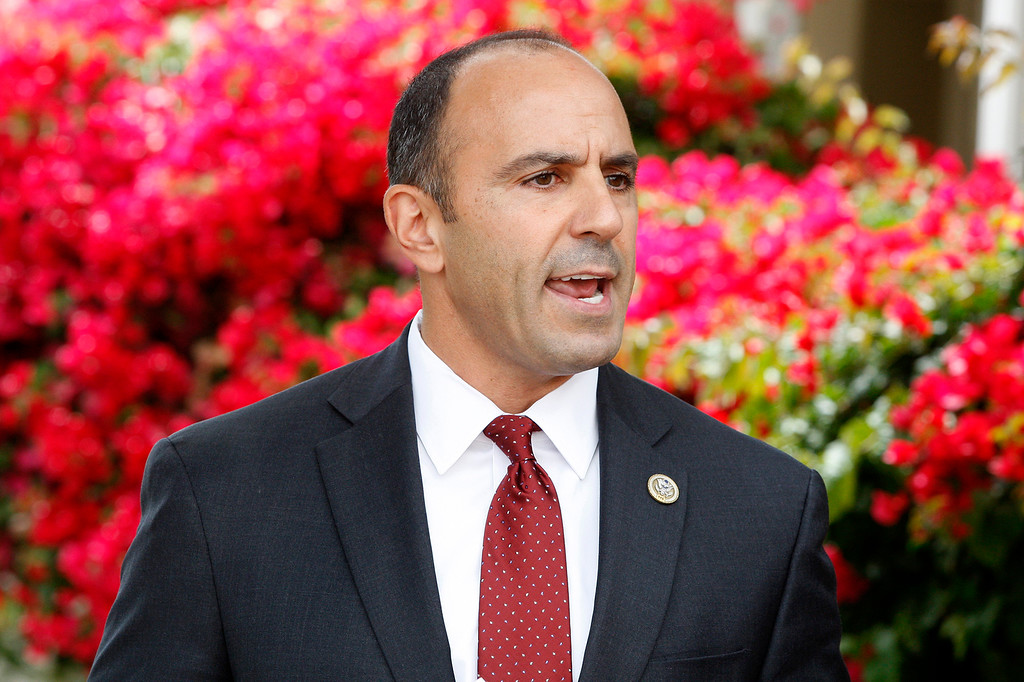 . Congressman Jimmy Panetta conducts a ceremony to issue military medals awarded posthumously to U.S. Army Tech Sergeant David Schultz in a ceremony in Monterey on Tuesday, August 28, 2018.  (Vern Fisher - Monterey Herald)