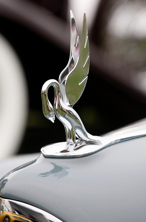 . Hood ornament on the 1938 Bugatti Type 57C Letourneur et Marchand 3 Position Cabriolet at the Pebble Beach Concours d\'Elegance on Sunday, August 26, 2018.  (Vern Fisher - Monterey Herald)