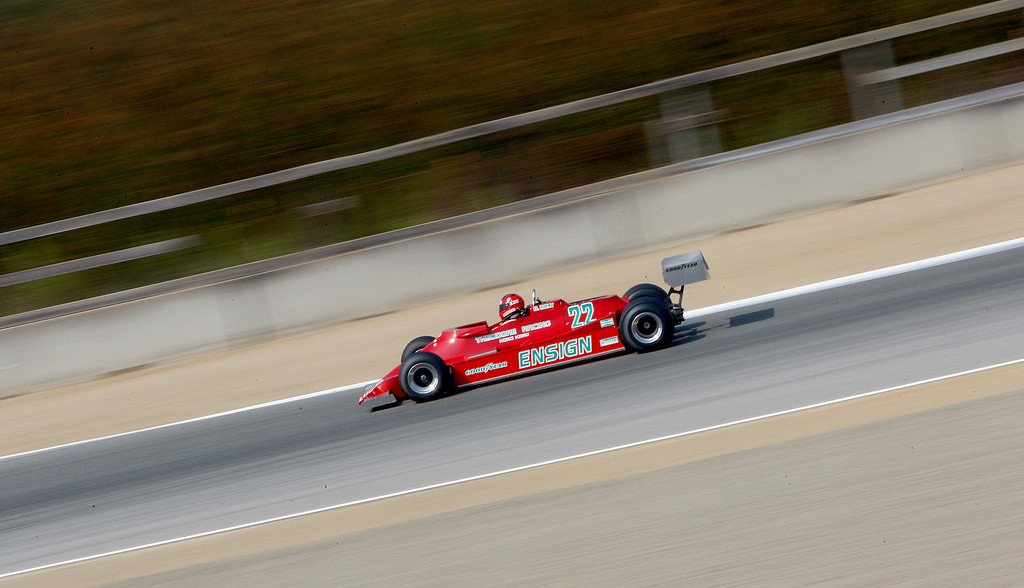 . Bud Moeller drives his 1979 Ensign MN 179 through turn-4 during the practice session of 1967-1984 Formula One cars at the Rolex Motorsports Reunion at WeatherTech Raceway Laguna Seca on Friday, August 24, 2018.  (Vern Fisher - Monterey Herald)