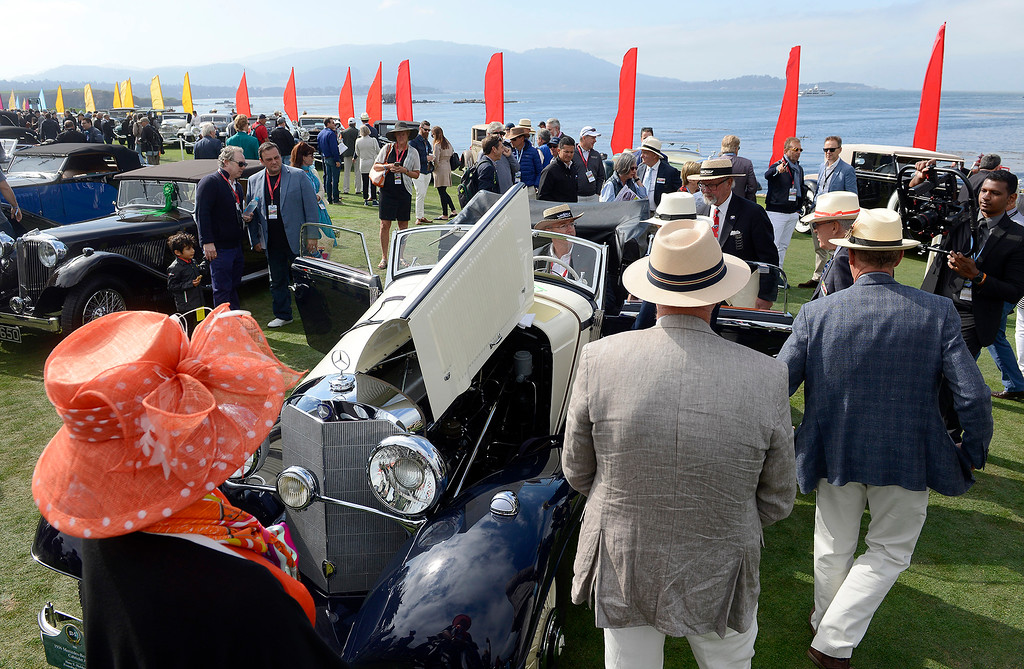. Hans Hulsbergen show his 1936 Mercedes-Benz 540K Cabriolet A at the Pebble Beach Concours d\'Elegance on Sunday, August 26, 2018.  (Vern Fisher - Monterey Herald)