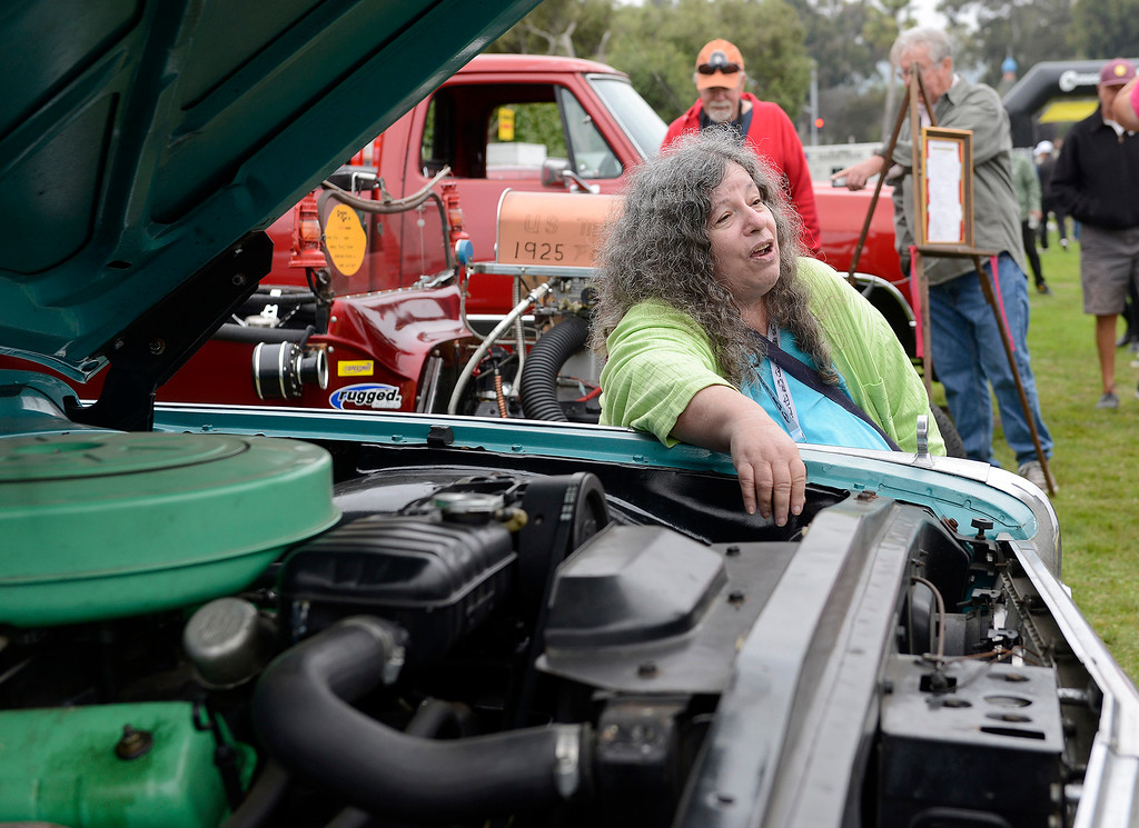. Andrea Enthal shows her 1960 Edsel at the Concours d\'LeMons in Seaside on Saturday, August 25, 2018.  (Vern Fisher - Monterey Herald)