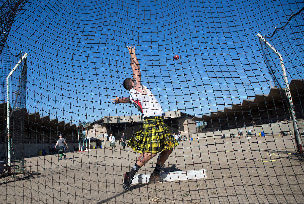 . Troy Wallen of Tuscon, AZ tosses a 22 lb. weight during the Heavy Hammer competition at the Monterey Scottish Games & Celtic Festival at the Monterey Fairgrounds and Event Center on Saturday August 4, 2018. Contestants in the Heavy Athletics competed in nine different events. Wallen said he competes in ten competitions a year and is headed to this year\'s world completion in Germany.  (David Royal/ Herald Correspondent)