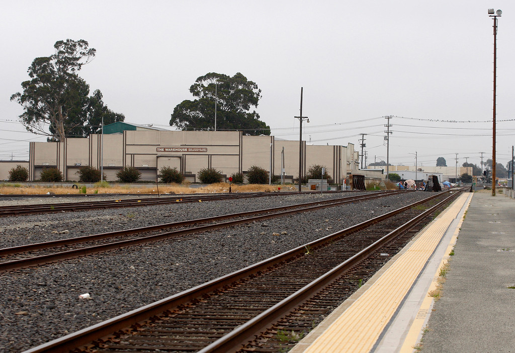 . Looking south from the Salinas train station off Market Street in Salinas on Friday, August 3, 2018.  TAMC poised for groundbreaking on $81 million first phase of Salinas rail extension project aimed at upgrading train station and bringing rail service from Gilroy and Bay Area to Monterey County.  (Vern Fisher - Monterey Herald)
