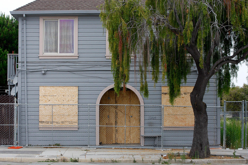 . Boarded up buildings on Station Place at the Salinas train station in Salinas on Friday, August 3, 2018.  TAMC poised for groundbreaking on $81 million first phase of Salinas rail extension project aimed at upgrading train station and bringing rail service from Gilroy and Bay Area to Monterey County.  (Vern Fisher - Monterey Herald)