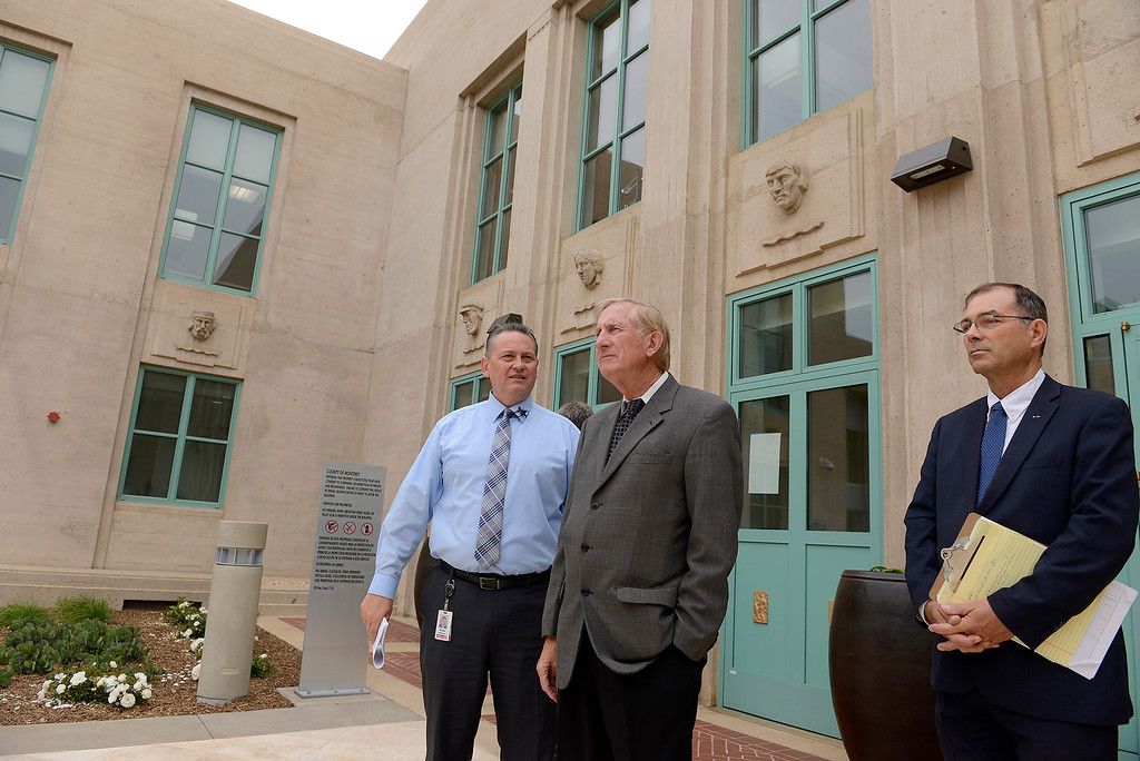 . Dewayne Woods and Dean Flippo tour the newly refurbished Monterey County Courthouse on Tuesday, August 7, 2018.  (Vern Fisher - Monterey Herald)
