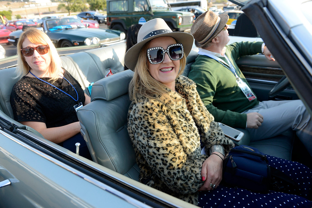 . Kylie McLaughlin at reporter from Austraila at Laguna Seca on Thursday, August 9, 2018 to participate in the California\'s Dream Drive celebrating the re-opening of Highway 1.  Dozens of classic cars and modern day vehicles drove from Monterey County to San Luis Obispo County.  (Vern Fisher - Monterey Herald)