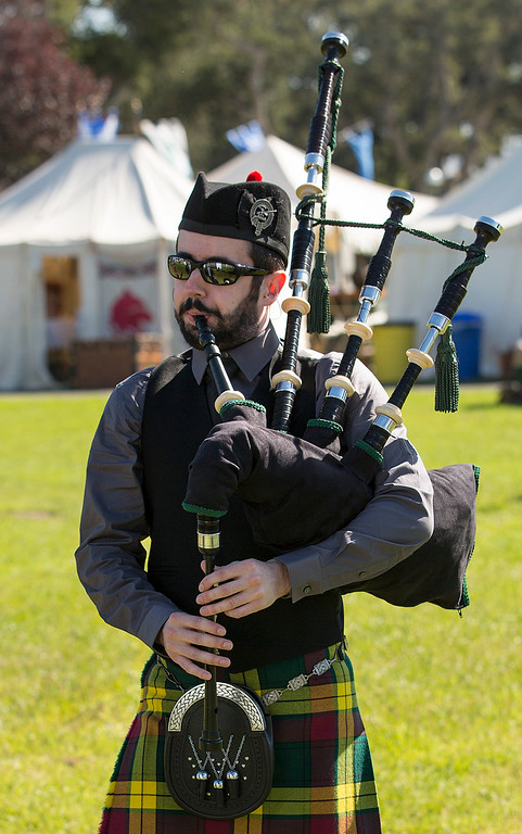 . Michael Nichols of San Luis Obispo warms up on his bagpipes before competing during the Monterey Scottish Games & Celtic Festival at the Monterey Fairgrounds and Event Center on Saturday August 4, 2018. (David Royal/ Herald Correspondent)